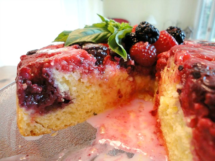 Mixed Berry Upside Down Cake with glaze