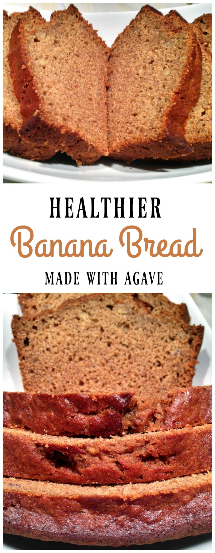 Healthier banana bread, made with agave nectar, tastes just as moist and delicious as banana bread made with traditional sugar. This banana bread recipe is perfect for creating a healthier snack or dessert.