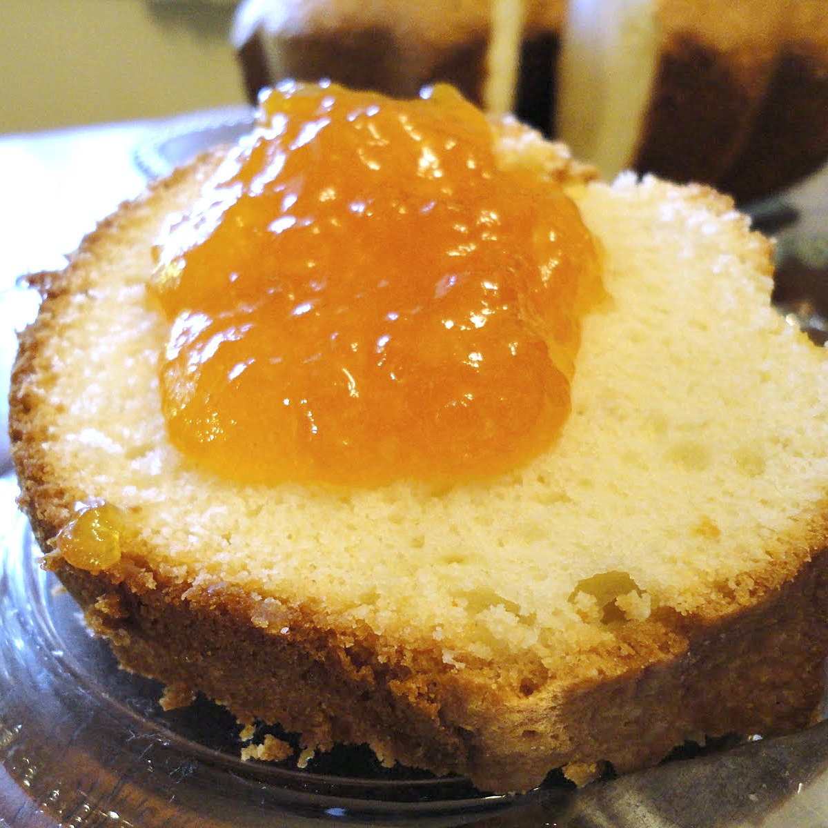 Sour Cream Pound Cake with Fresh Peach Preserves