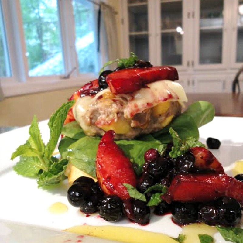 Peach-Stuffed Grilled Turkey Burgers with Fresh Blueberry-Peach Sauce