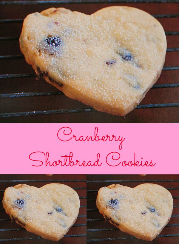 Cranberry Shortbread Cookies Recipe - Dried cranberries are added to buttery, soft shortbread. The perfect cookie recipe for the sweetie in your life.