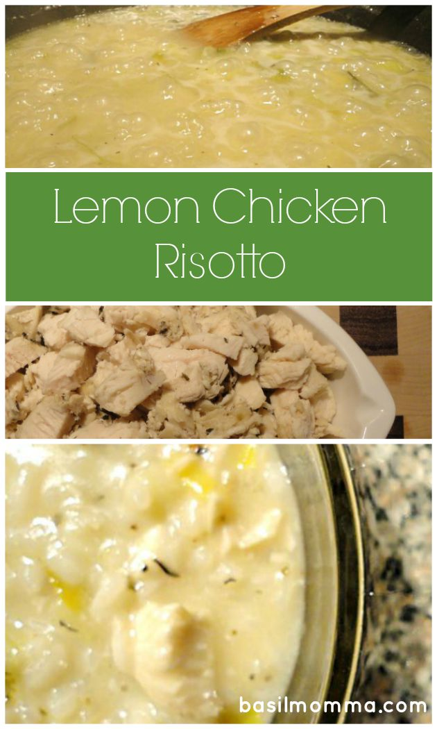 This Lemon-Chicken Risotto Recipe is a quick and easy dinner that can be made from dinner leftovers! Get the recipe on basilmomma.com