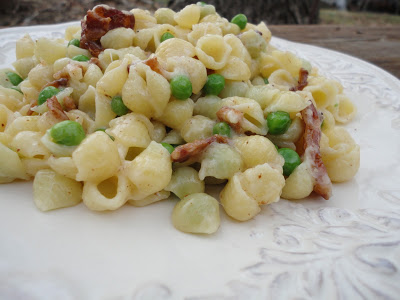 Creamy Mini Shell Pasta with Bacon and Peas - Just one in a collection of recipes using Spring vegetables on basilmomma.com
