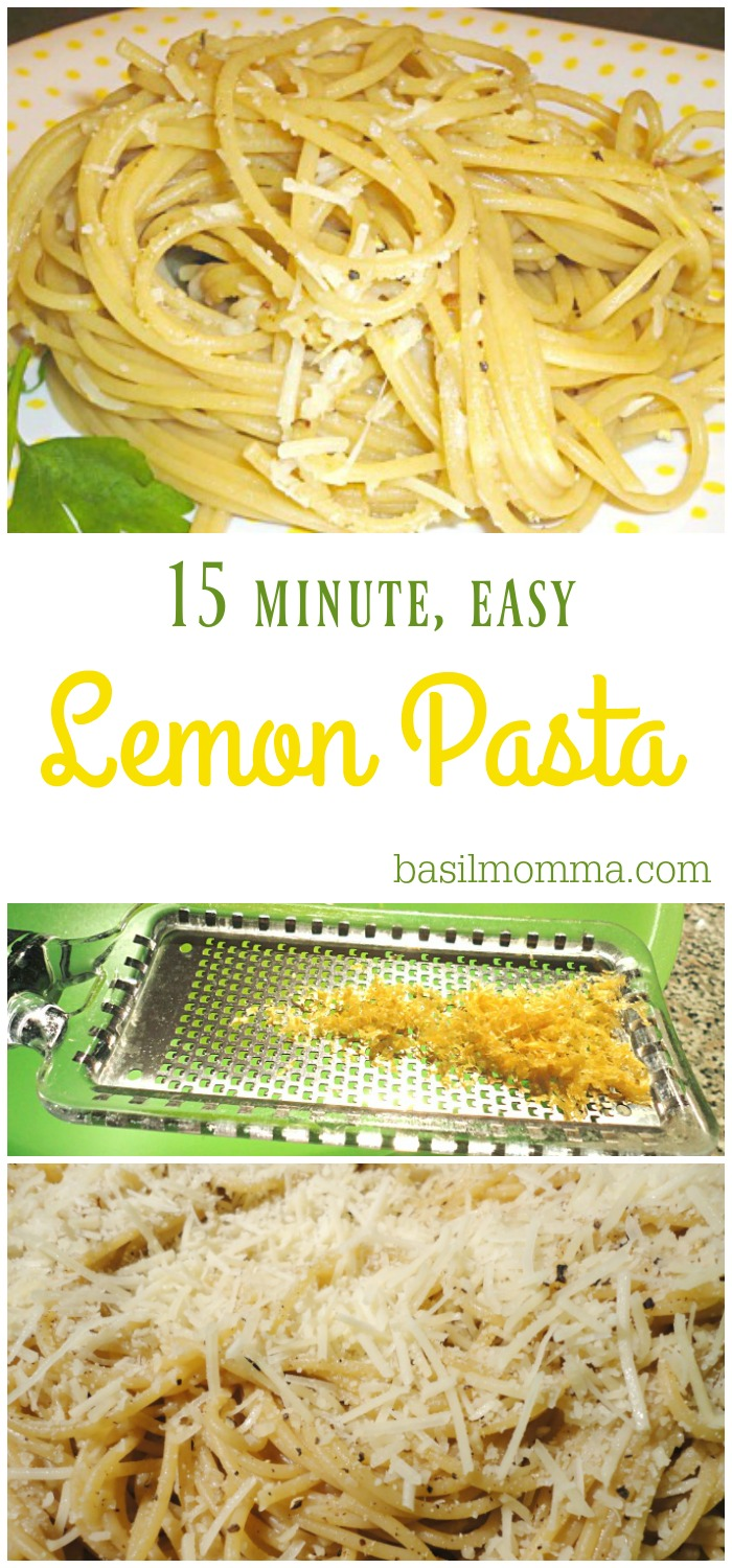 Easy Lemon Pasta is a quick weeknight meal that comes together in less than 20 minutes! Add protein or have it as a meatless meal. Recipe on basilmomma.com
