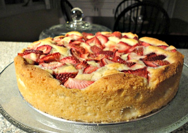 Fresh strawberry cake is moist and fluffy, full to the brim with sweet strawberries. It bakes up in a snap and is the perfect spring dessert. | basilmomma.com