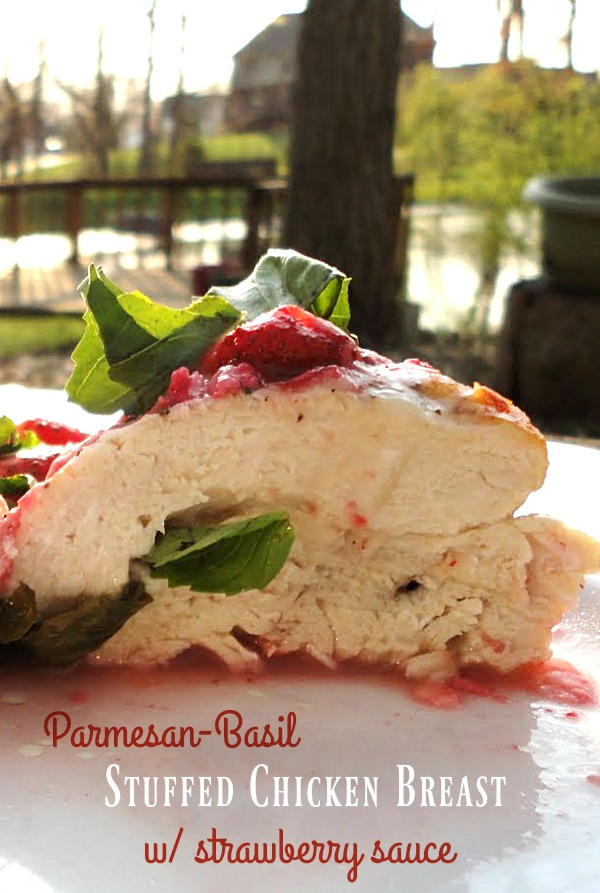 Parmesan-Basil Stuffed Chicken Breasts with Strawberry Sauce - a quick and easy weeknight dinner recipe, made in less than 30 minutes! | basilmomma.com