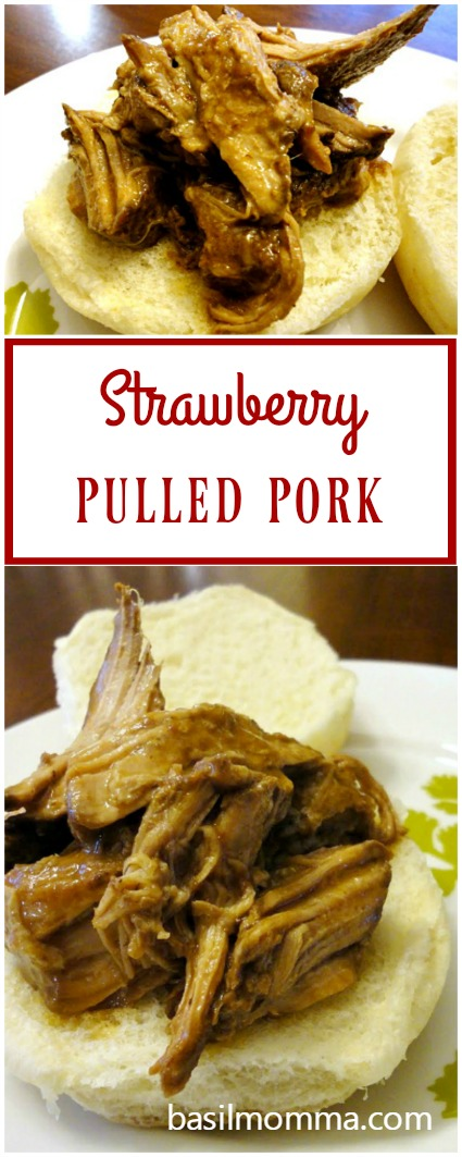 Strawberry pulled pork is an easy to make slow cooker recipe. Take just 10 minutes to prep it, then let the crock pot do all of the work cooking it for you. | basilmomma.com