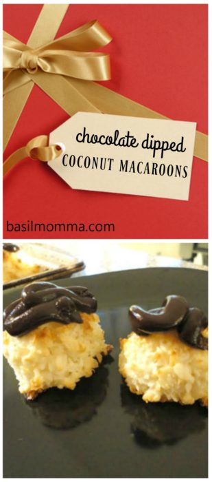Chocolate Dipped Coconut Macaroons | Recipe on basilmomma.com