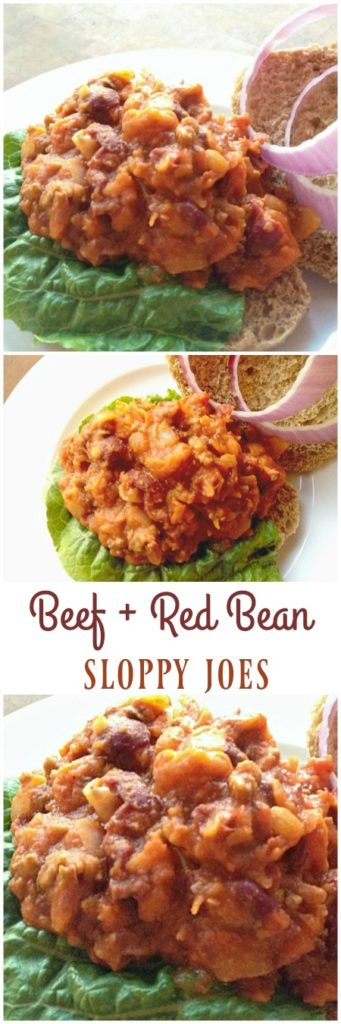 Red bean sloppy Joes have a touch of ground beef in them, so while they not quite meatless, they are pretty close. The red beans fill you up with healthy fiber, stretching your grocery budget at the same time!