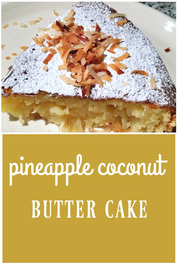 Pineapple coconut butter cake is moist, light, and loaded with tropical flavor! This cake has real butter, sweet pineapple, and freshly shredded coconut. It melts in your mouth! | Recipe on basilmomma.com