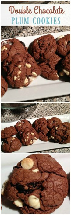 Double chocolate plum cookies are a delicious and healthy snack or dessert. Made with dried plums, white chocolate and dark cocoa, they're perfect with a tall glass of milk or coffee. | basilmomma.com