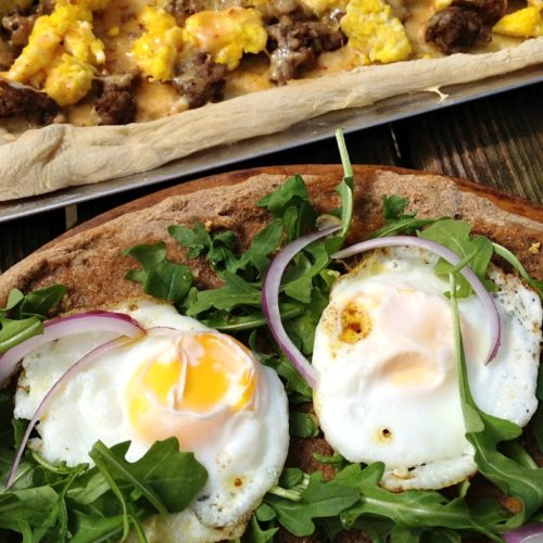 Arugula Sunny Egg Breakfast Pizza | A healthy way to have pizza for breakfast in the morning! | basilmomma.com