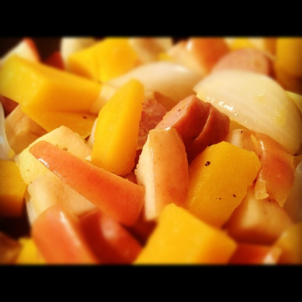 Turkey Sausage, Apple, Butternut Squash Skillet