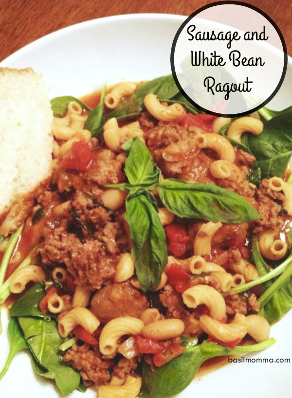 Sausage and White Bean Ragout - An easy comfort food dinner recipe from @basilmomma