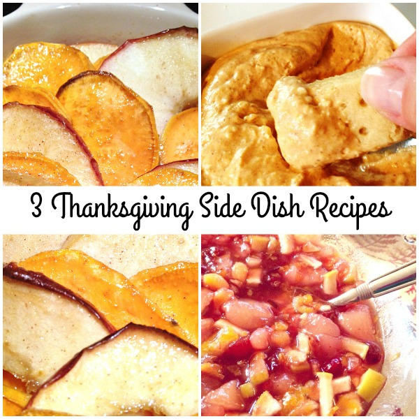 3 Thanksgiving Side Dish Recipes - Get the recipes for cinnamon scented cranberry sauce with apples, pumpkin pie dip, and candied sweet potatoes with apples