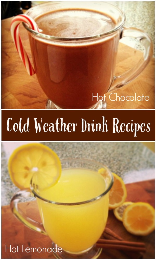 2 of the best cold weather drink recipes - hot chocolate and hot lemonade - get the recipes on basilmomma.com