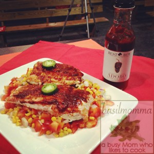 Barbecued Salmon with Fresh Sweet Corn Relish | Get the recipe from basilmomma.com