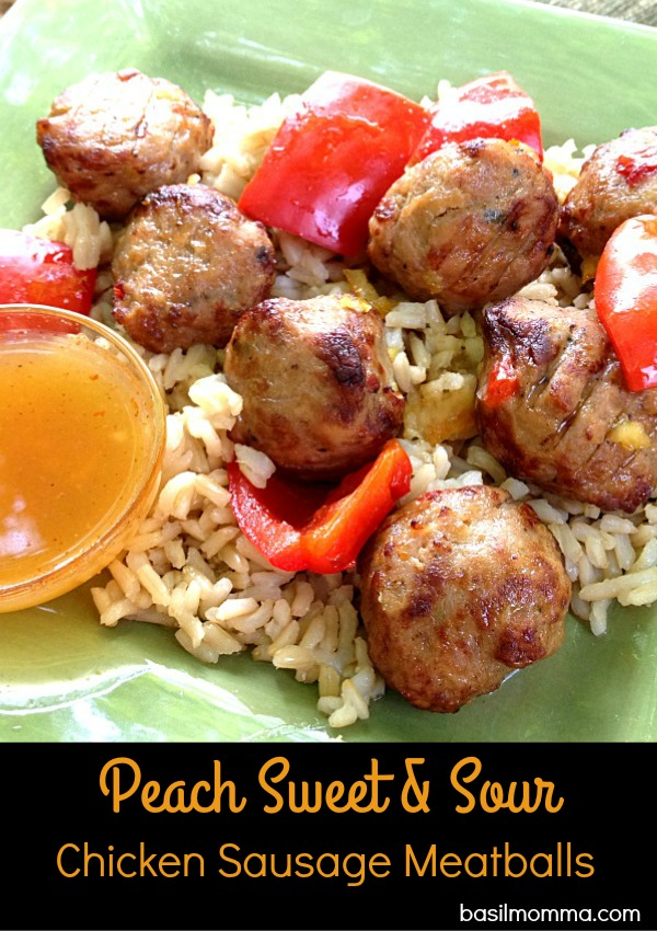 Peach Sweet and Sour Meatballs Recipe - Delicious chicken sausage meatballs are tossed in a sweet and sour peach sauce for a quick and easy Asian take-out style meal, cooked and eaten at home!