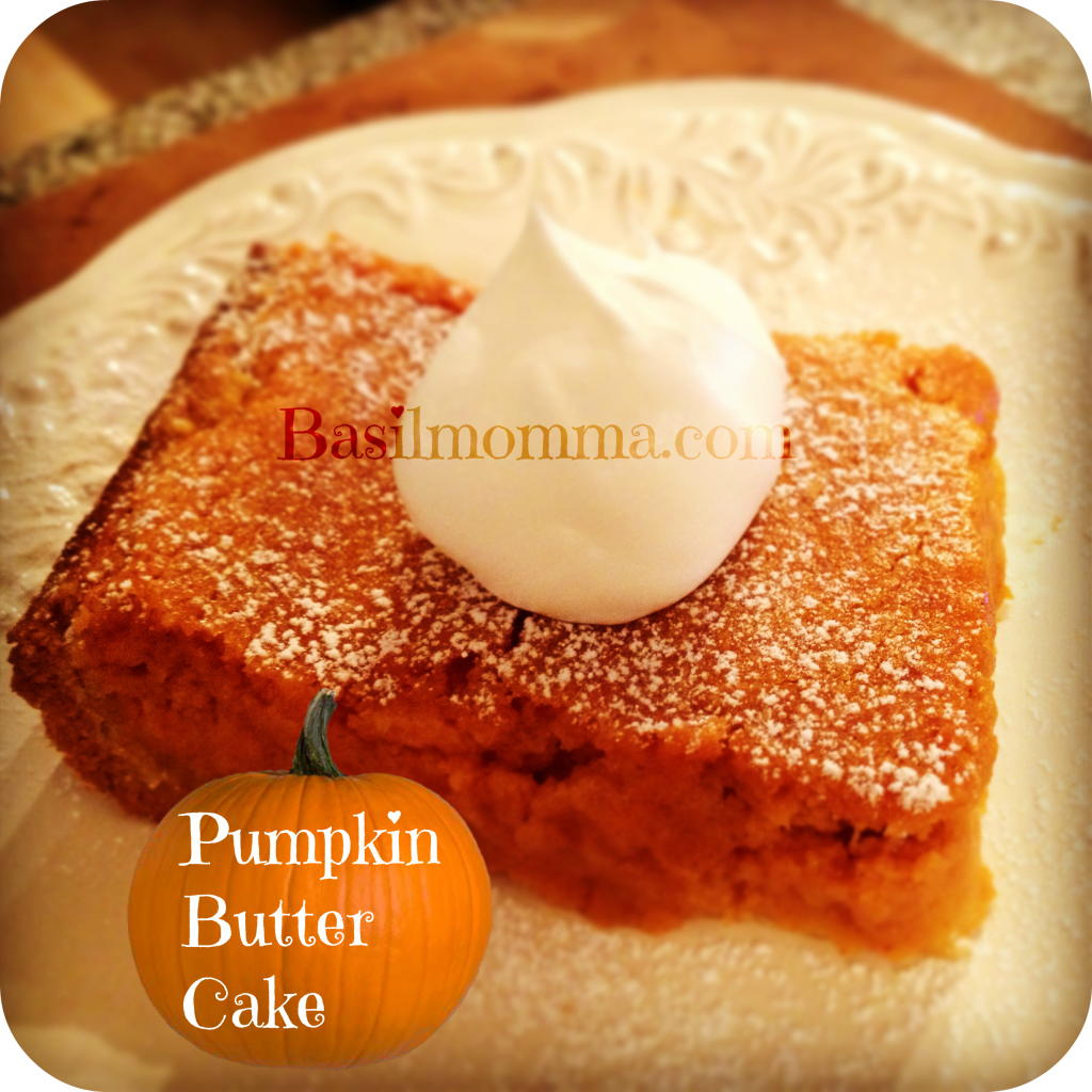 Pumpkin Butter Cake is a quick and easy pumpkin dessert, made from a cake mix, but with real pumpkin puree and warm spices. Recipe on basilmomma.com