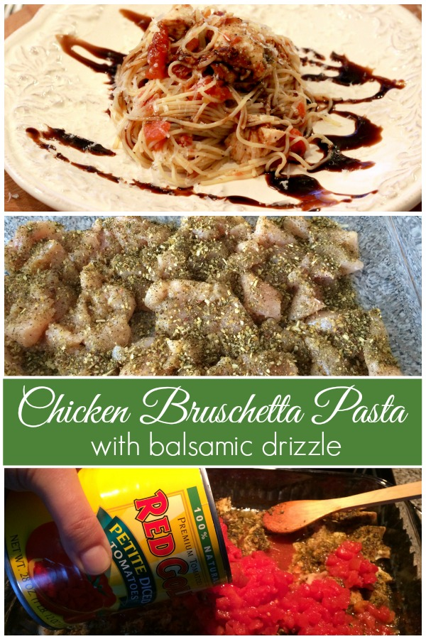 A healthy pasta recipe for Chicken Bruschetta Pasta from basilmomma.com