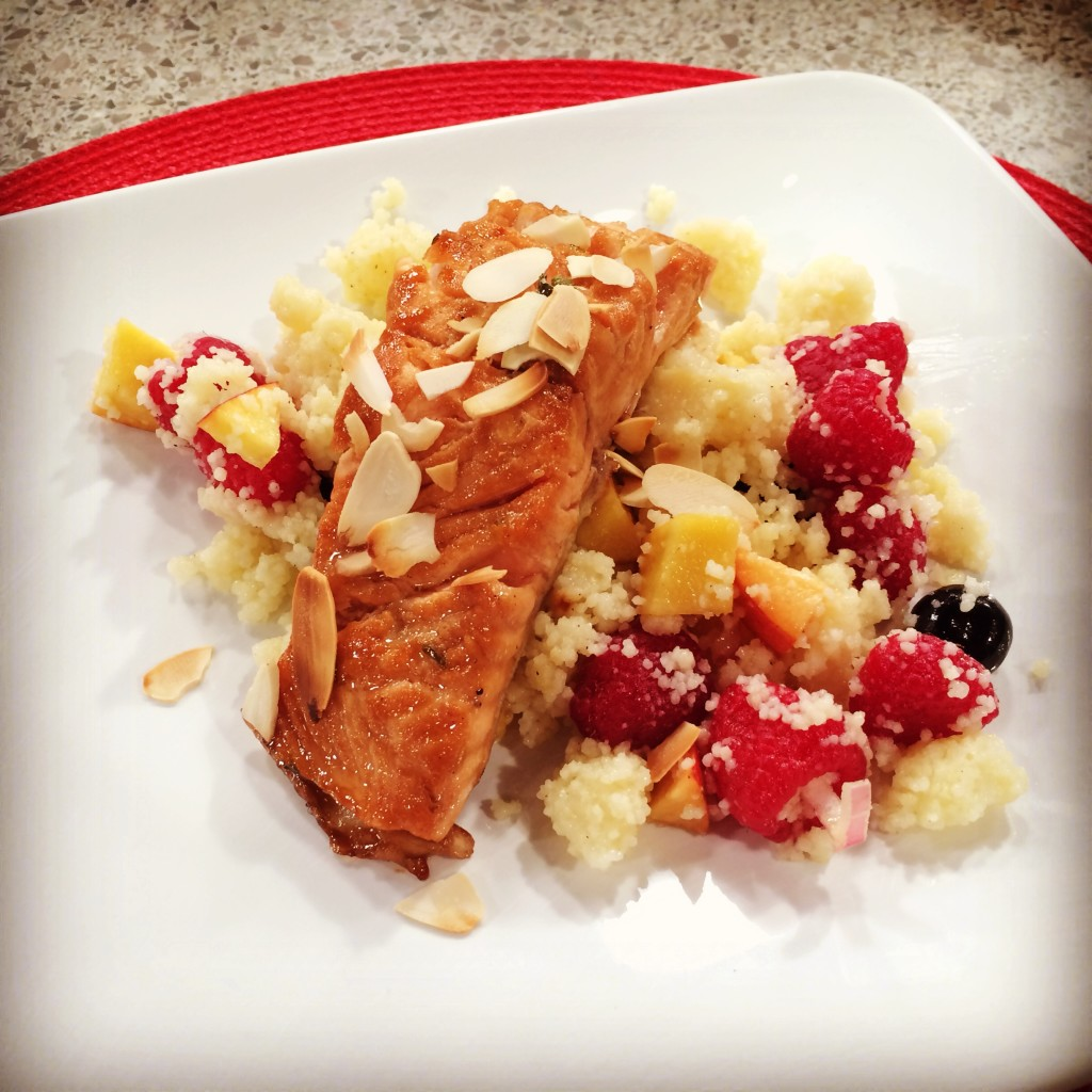 Honey Lime Salmon over Fruity Couscous
