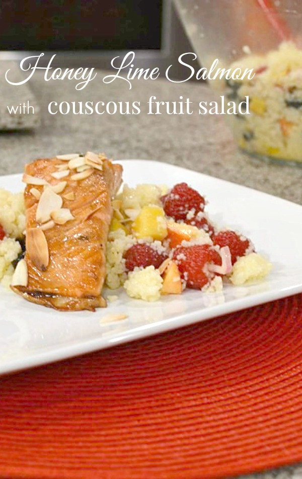 Healthy Honey Lime Salmon with Couscous Fruit Salad - Get these delicious healthy recipes from basilmomma.com