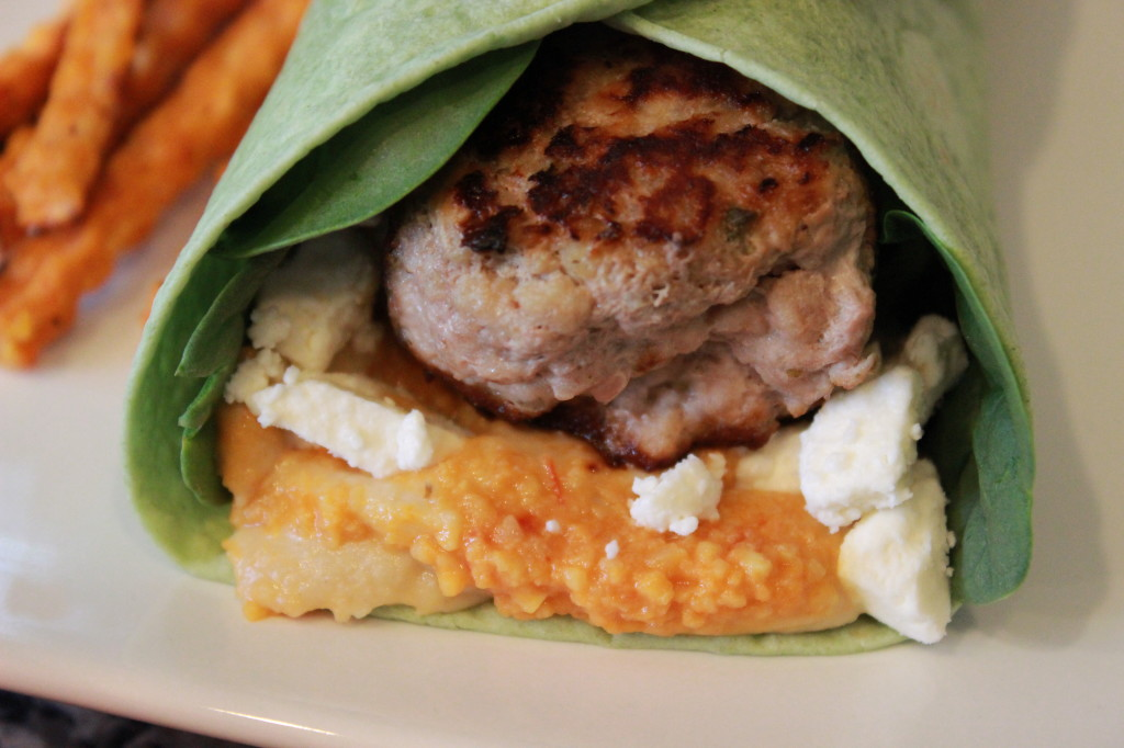 Gluten Free Hummus Turkey Burger Wrap