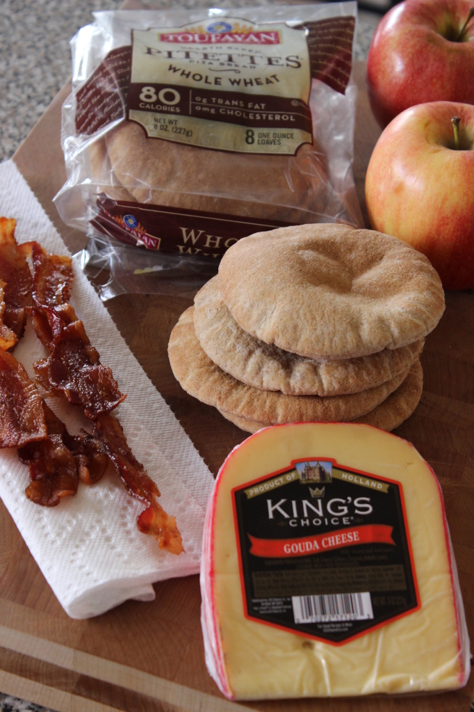 Bacon Apple Gouda Pita Snacks