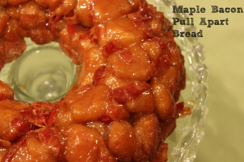 Maple Bacon Pull Apart Bread - a quick and easy bread recipe using biscuit dough, bacon, and maple syrup.