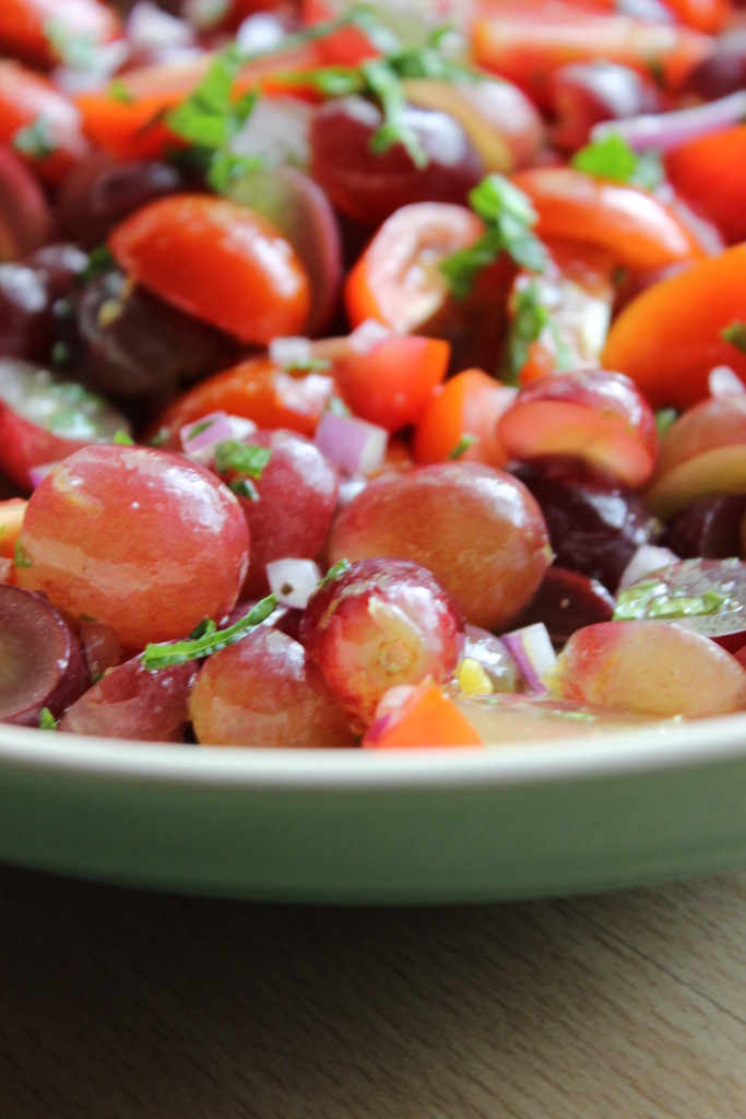Refreshing Grape, Mint and Tomato Salad, I am pretty sure you will be making this a LOT this summer!
