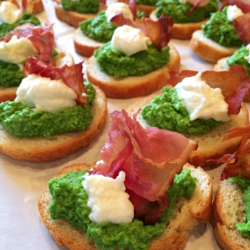 Green Pea Pesto Prosciutto Crostini - Just one in a collection of recipes using Spring vegetables on basilmomma.com