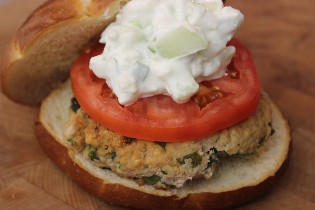 Spinach Feta and Hummus Turkey Burger