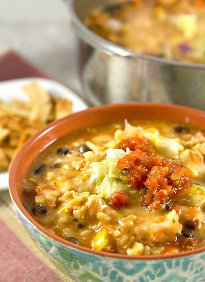 Chicken Enchilada Soup from @itsyummi - Part of a Recipe Collection of One Pan Dinners on Basilmomma.com - These dinner recipes are all kid-friendly, made in one pan, and in under 30 minutes, making them perfect school night dinners for busy families!