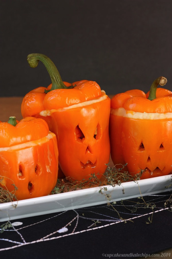 Jack-O-Lantern Shepherds Pie Stuffed Bell Peppers Recipe, from Cupcakes & Kale Chips