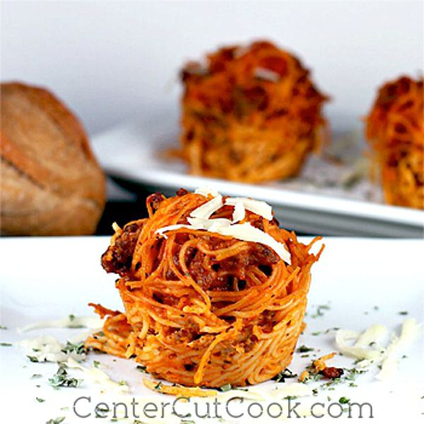 Spaghetti Nests (Pasta Cups), from Center Cut Cook - One of the fun ways to serve spaghetti!