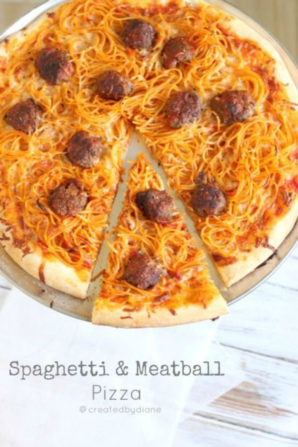Spaghetti and Meatball Pizza, from Created By Diane - One of the fun ways to serve spaghetti!