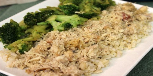 Pulled chicken with teriyaki broccoli and rice