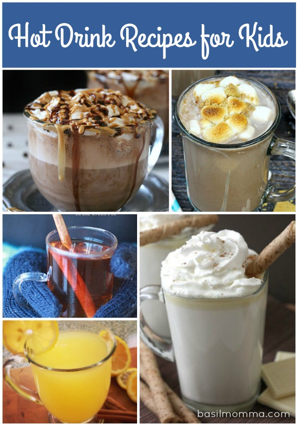 Hot Drink Recipes for Kids - See the recipe collection of beverages that will warm you up when it's cold outside at basilmomma.com