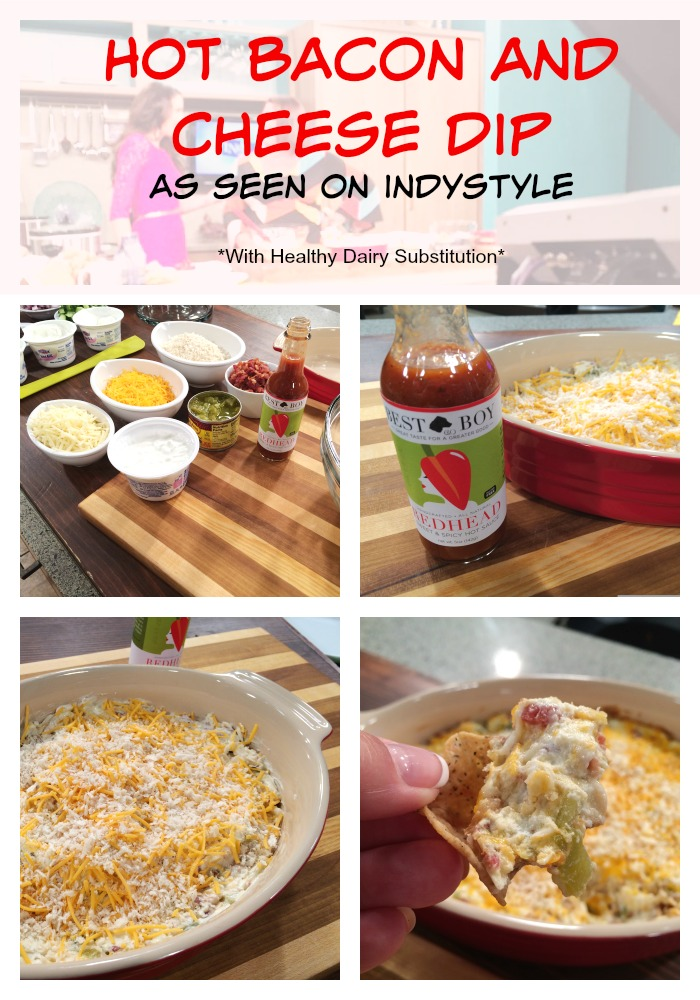 Hot Bacon and Cheese Dip with healthy dairy substitution #FarmsMatter #WinnersDrinkMilk