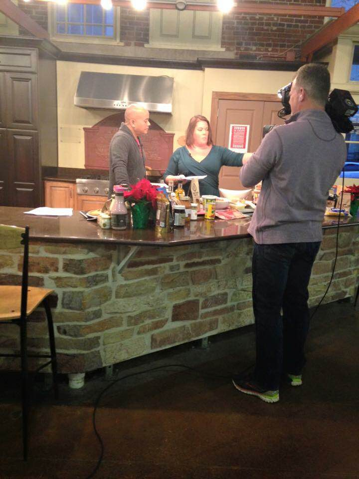 apple cheddar sausage balls with SHerman Burdette on FOx59 with Indiana Grown