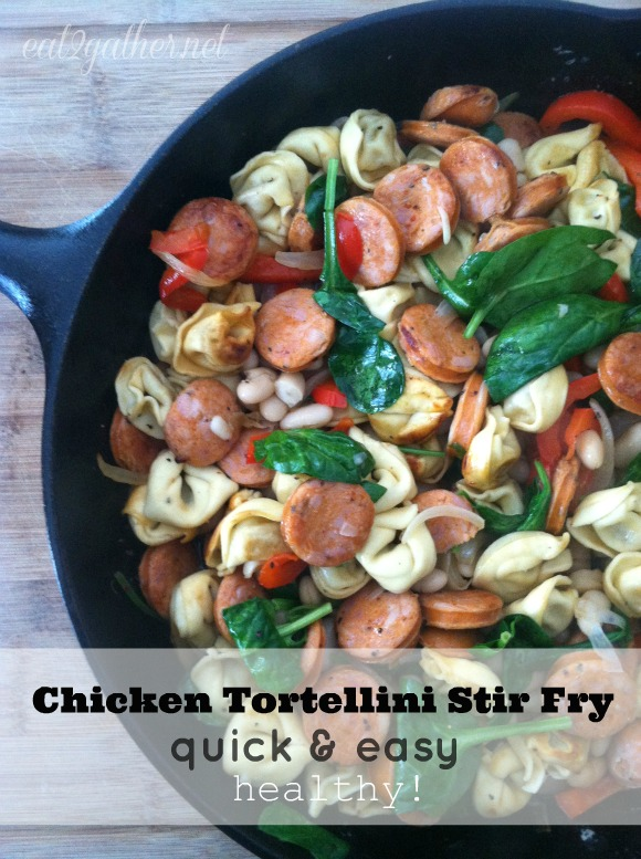 Healthy Chicken Tortellini Stir Fry from Eat2Gather - just one of the healthy dinner recipes in a collection on basilmomma.com