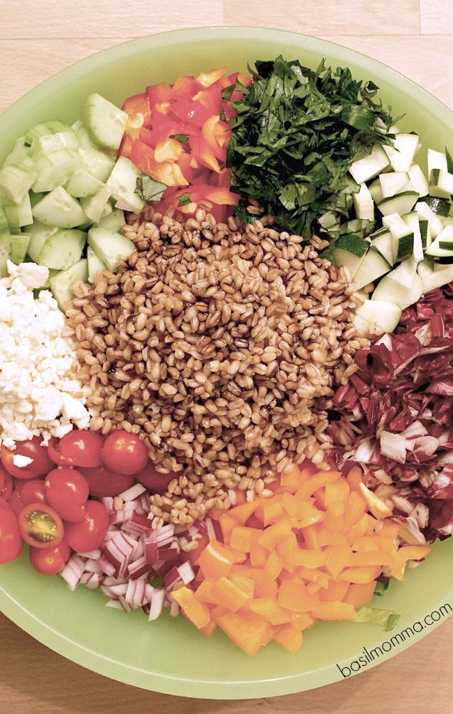 Farro Chopped Salad Recipe - Just one of the healthy dinner recipes you can find at basilmomma.com