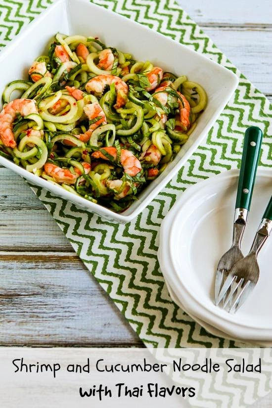 Healthy dinner salads like this shrimp and cucumber noodle salad from Kalyn's Kitchen make eating healthy fun and delicious!