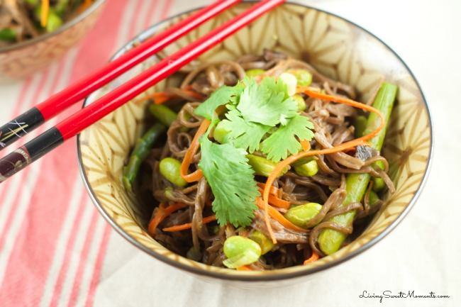 Soba Noodles with Edamame and Spring Veggies - One in a collection of recipes using Spring Vegetables on basilmomma.com