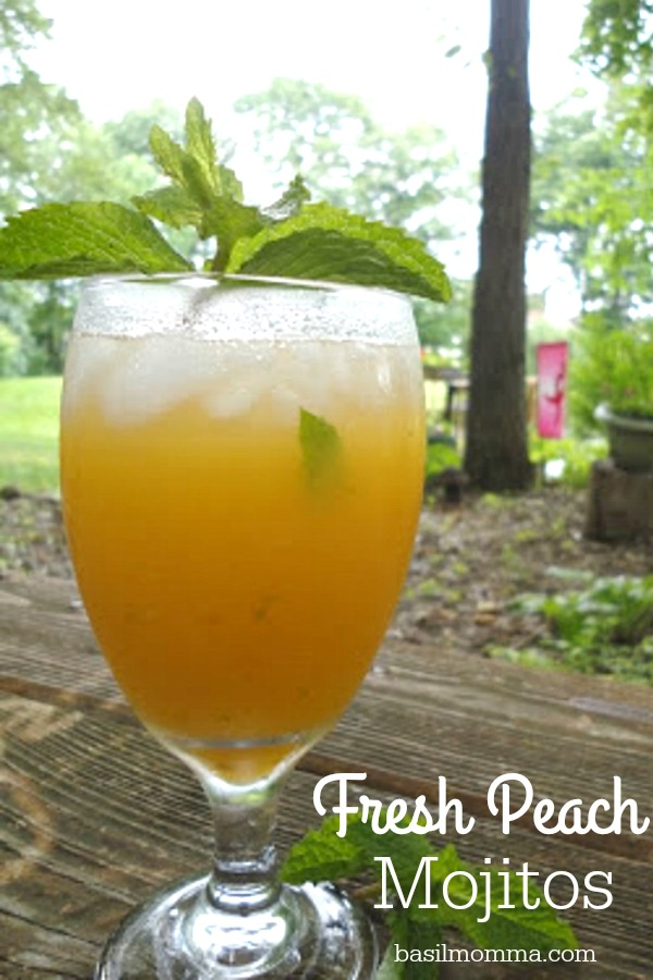 Fresh Peach Mojitos - Get the recipe for this delicious Summer cocktail from basilmomma.com
