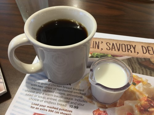 Coffee and fresh cream from Bob Evans