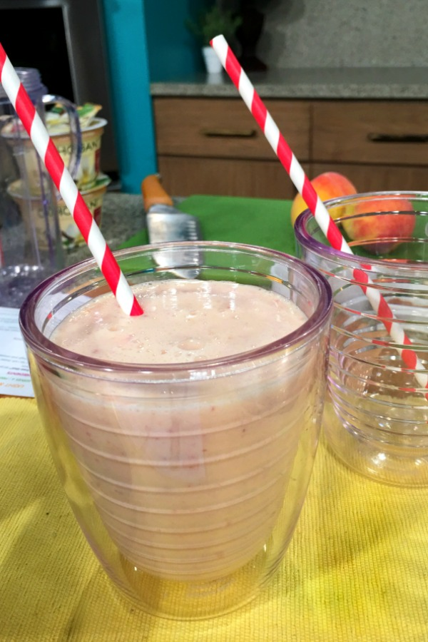 Peach Pie Smoothie - 1 of 4 easy summer recipes that your kids can make themselves. - Get the recipe on basilmomma.com