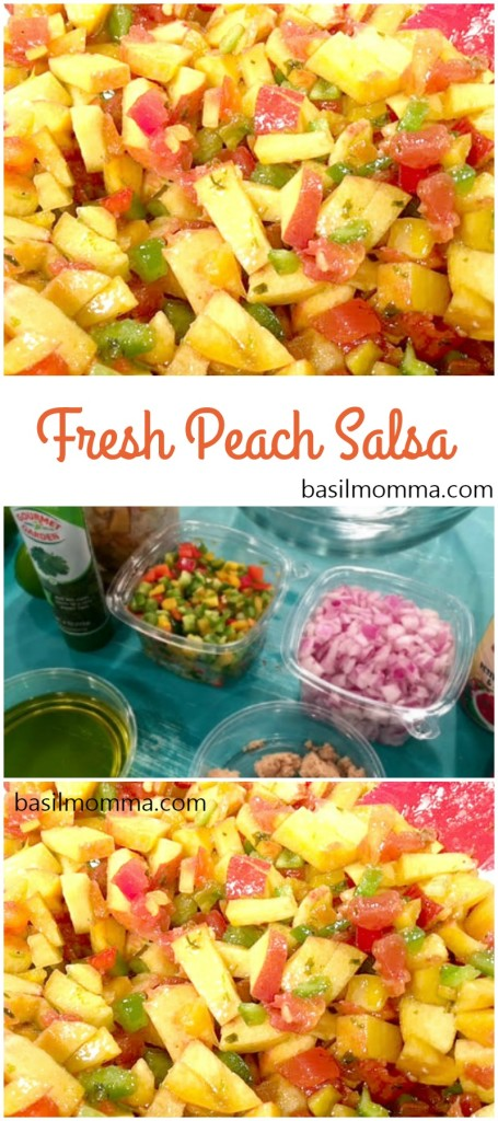 Fresh Peach Salsa - A great summer recipe that's perfect for dipping into with chips, or serve it over grilled fish, pork, or poultry. - Get the recipe from @basilmomma at basilmomma.com