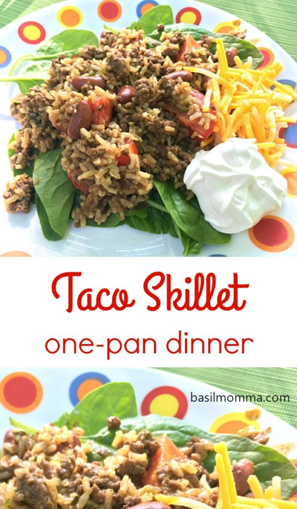 Taco Skillet Dinner - This one-pan weeknight dinner is a family favorite. All the flavor of tacos and Spanish rice, cooked up into a skillet meal, in less than 30 minutes! Recipe on basilmomma.com