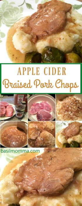 Apple Cider Braised Pork Chops Recipe - Perfect for a fall diinner, any night of the week! Recipe on basilmomma.com